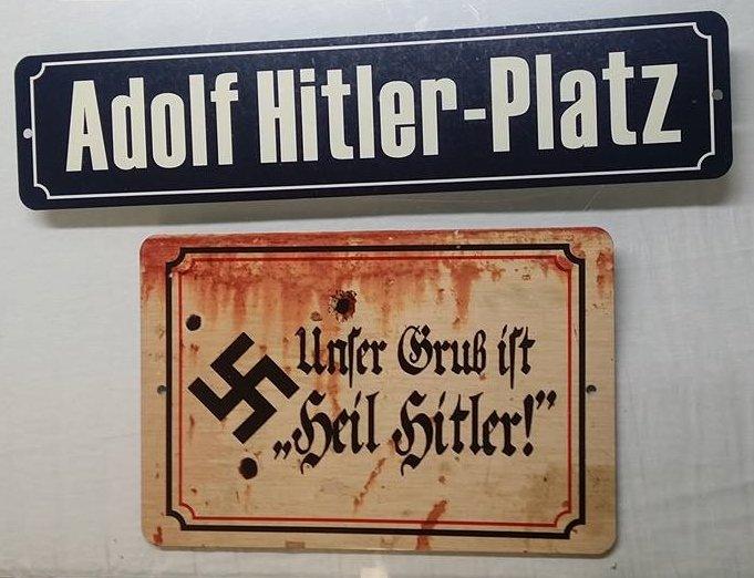 X 2 WWII WW2 Nazi German Adolf Hitler  propaganda Metal signs