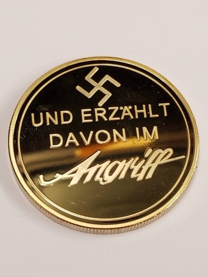 WWII WW2 German Nazi Zionist Anti semitic Goebbels swastika 24K gold medal coin medallion