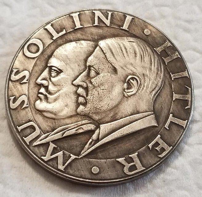 WWII WW2 Nazi German Mussolini Hitler coin