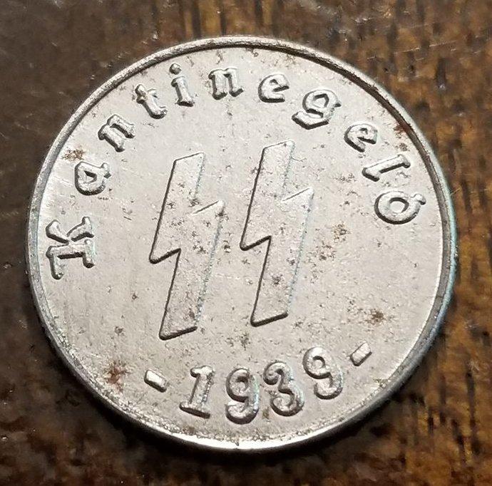 WWII WW2 Nazi German SS Kantinegeld 1939 silver coin