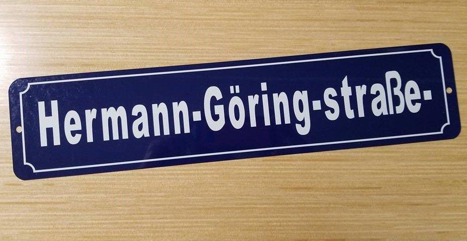 Hermann Goring street sign WWII WW2 Nazi German Metal sign