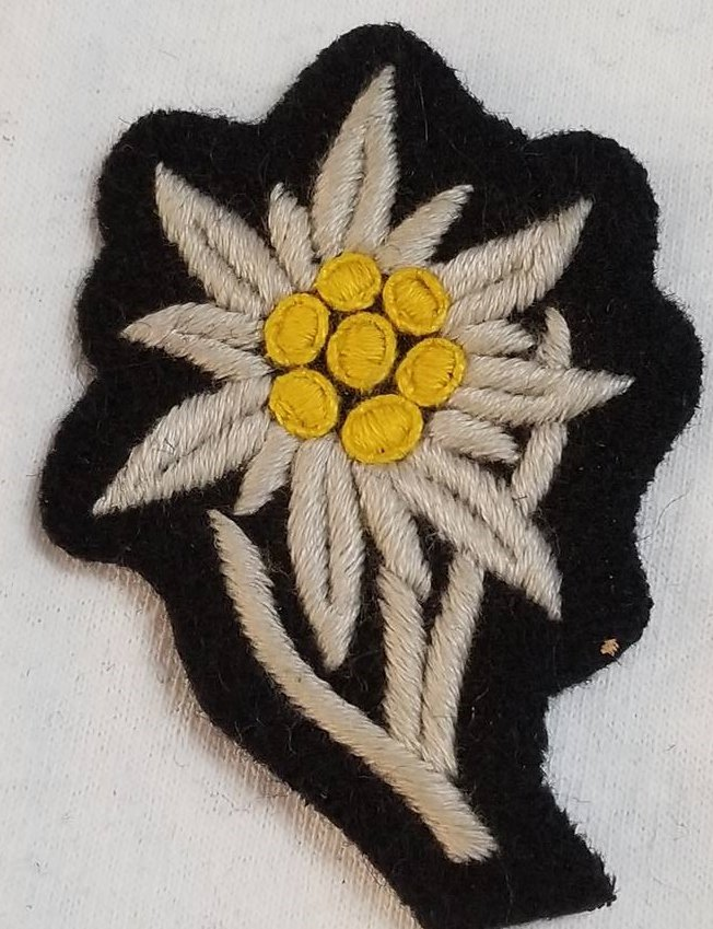 WWII WW2 Nazi German SS Edelweiss Hand embroidered patch