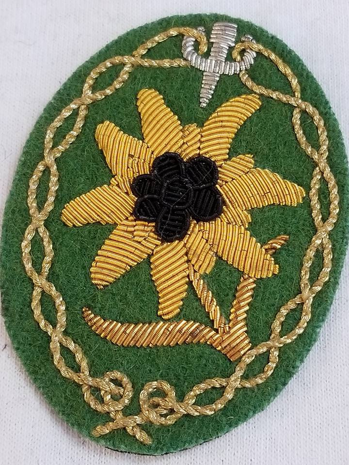 WWII WW2 Nazi German Edelweiss Hand embroidered patch