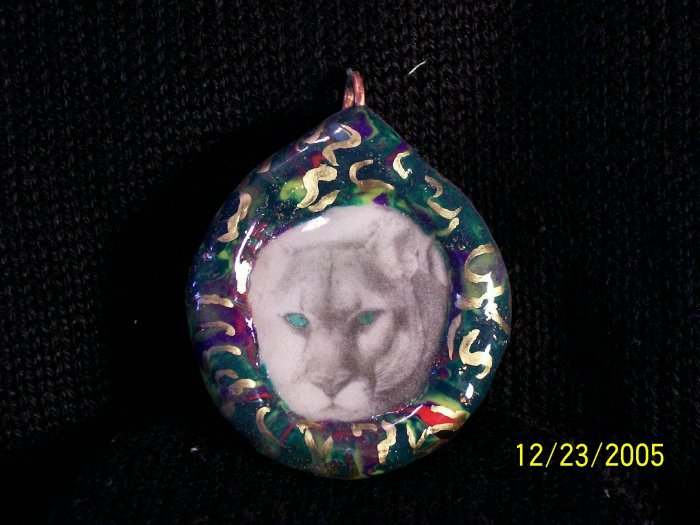 Polymer clay Florida Panther Image Transfer Pendant