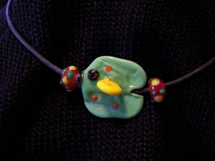 Lampwork ed Glass Reef Fish, Green & Yellow