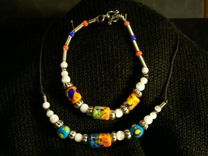 Multi Colored Necklace Bracelet Set with Leather Choker Necklace