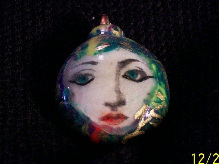 """Miss Terry"" Mokume Gane, Polymer Clay Pendant,"