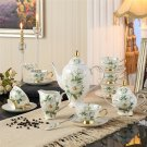 Luxury Bone China Camellia Coffee Set Porcelain Tea Cups Ceramic Pot Wedding Gift