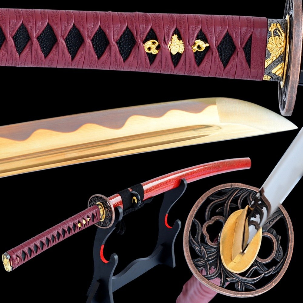 Katana Japanese Samurai Sword High Carbon Steel Electroplated Golden Blade Full Tang Sharp