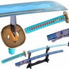 Japanese Samurai Sword Katana 1060 Carbon Steel Full Tang Blue Blade Sharp Battle Ready