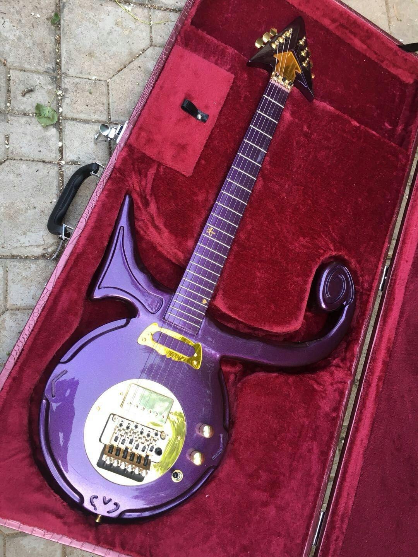 Symbol Guitar Replica Love Signature Purple Gold Color
