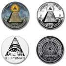 ILLUMINATI buttons/badges set of 4 (new world order, conspiracy, pyramid, the eye)