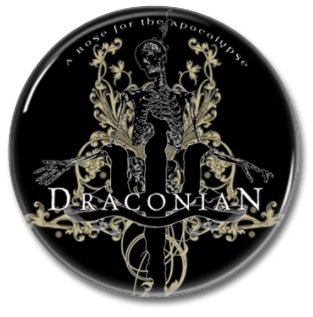 Draconian band button! (25mm, badges, pins, heavy metal, doom metal)