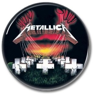 METALLICA 'MASTER OF PUPPETS' band button! (25mm, badges, pins, heavy metal, thrash metal)