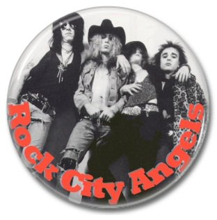 ROCK CITY ANGELS band button! (25mm, badges, pins, heavy metal, hair metal)