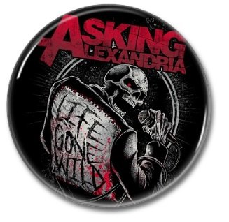 ASKING ALEXANDRIA band button! (25mm, badges, pins, heavy metal, metalcore, deathcore)
