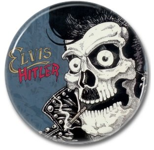 ELVIS HITLER band button! (25mm, badges, pins, rockabilly, psychobilly)