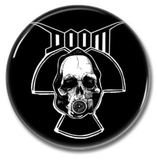 DOOM band button (1inch, 25mm, crust pink, badges, pins)