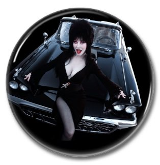 Elvira Mistress of the dark button (badges, pins, 25mm, Cassandra Peterson, horror, cult)