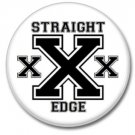 Straight Edge button (punk, badges, pins, 25mm, drugs free)