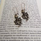 Bronze Octopus earrings (charms, pendants, vintage, tentacle,cthulhu, squid)