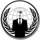 Anonymous logo button (new world order, conspiracy, v for vendetta)