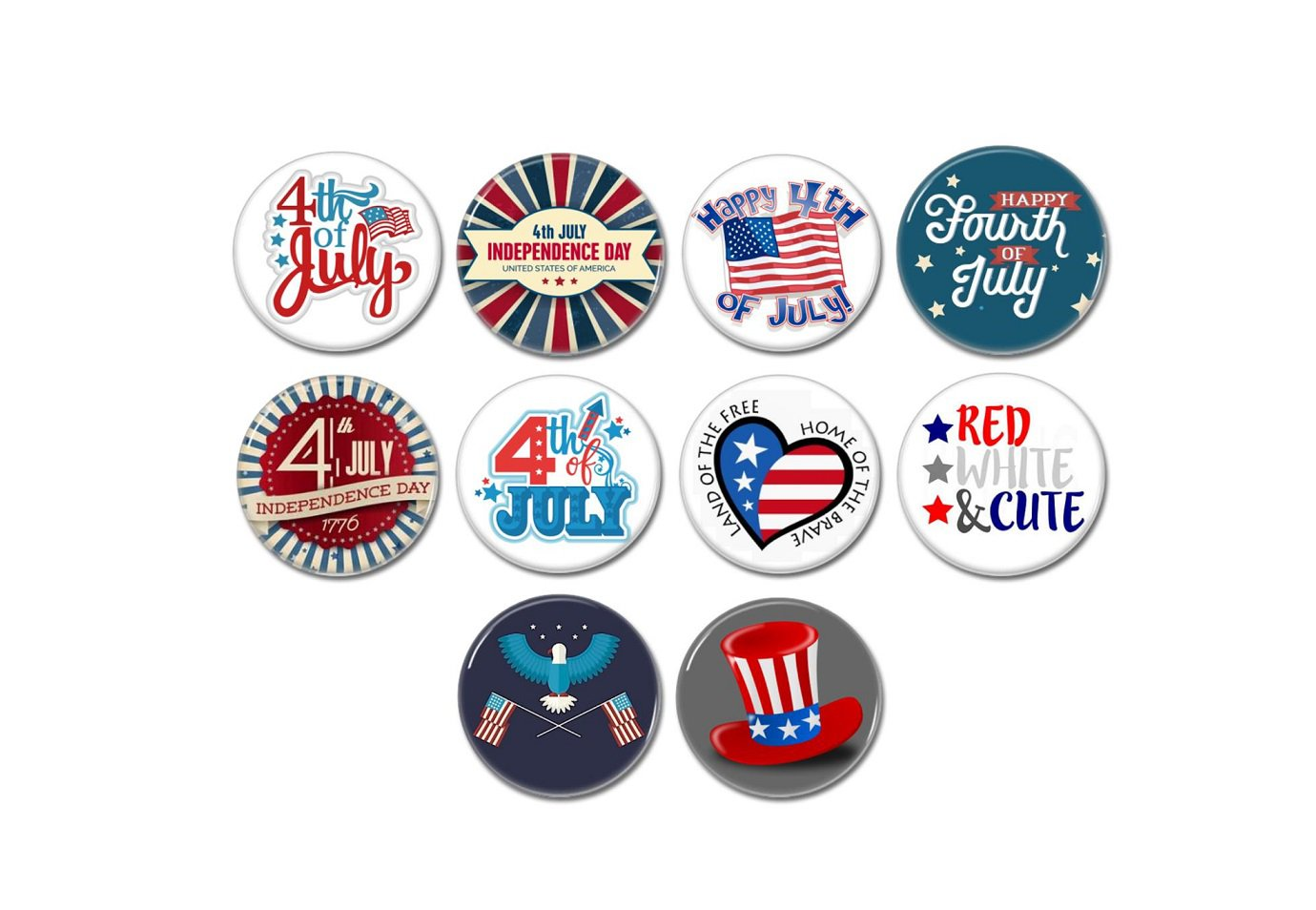 USA 4th Of July Button set of 10! (25mm, pinbacks, badges, pins, independence day, patriotic)