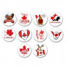 10 x Canada Day & I Love Canada buttons (25mm, pinbacks, badges, pins, holiday)