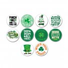 10 x St. Patrick's Day holiday buttons (25mm, pinbacks, badges, pins, holiday, puddy, Irish, drunk)