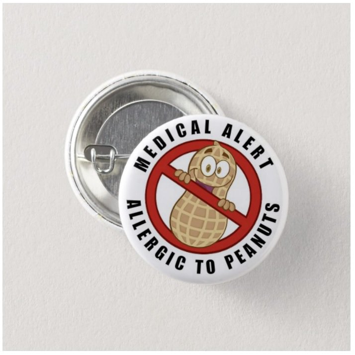 Allergic To Peanuts Medical Alert button (badge, pin, 25mm)