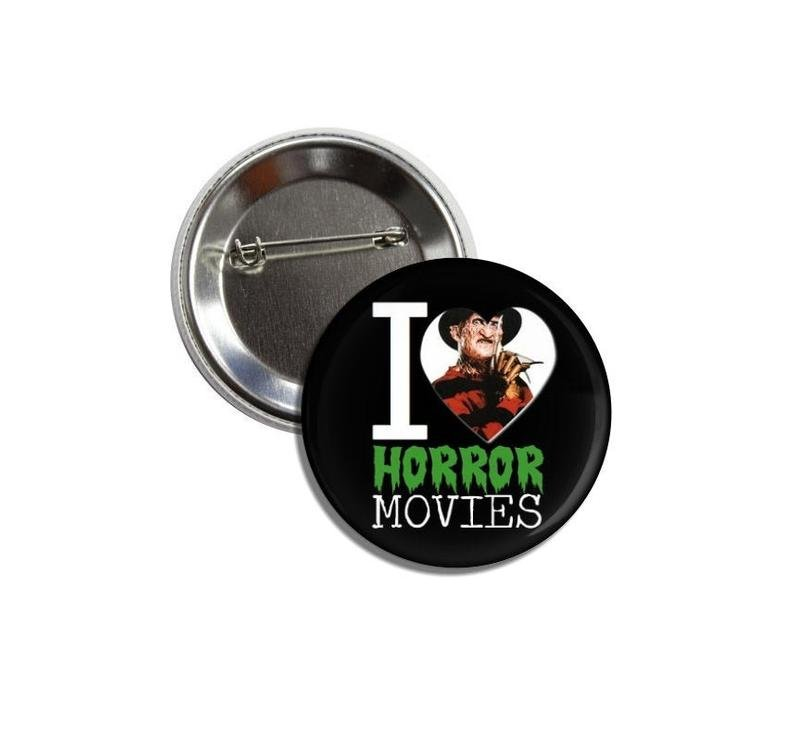 I Love Horror Movies button (badges, pins, 25mm, film, cinema, poster, print)