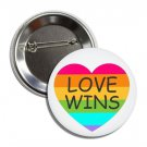 Love Wins Button (25mm, badges, pins, rainbow, gay pride, lgbtq, lesbian, transsexual)