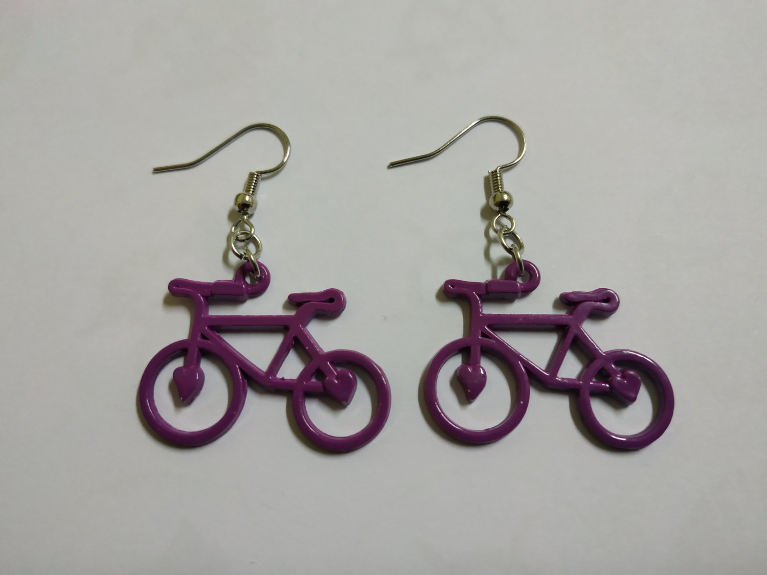 Purple Bicycle Earrings (jewelry, accessories, boho)