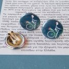 French Girl On Bicycle Clip On Earrings (jewelry, accessories, cute, pretty)