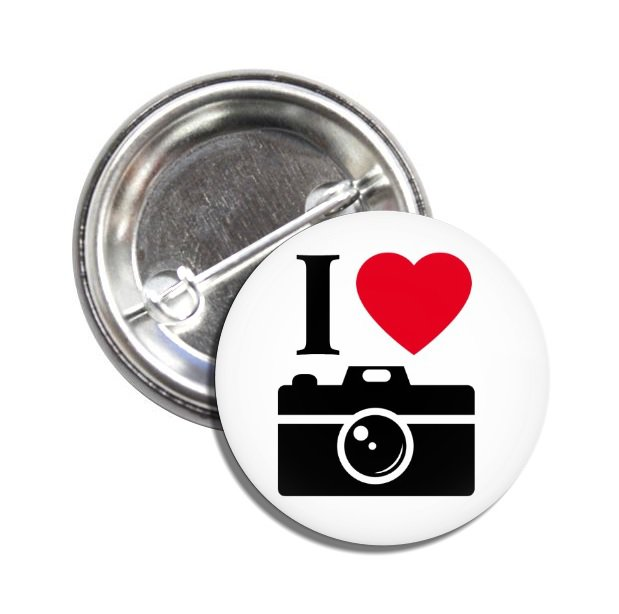 I Love Photography button (25mm, badges, pins, funny, quotes)