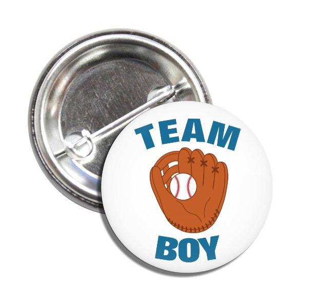 Team Boy button (badges, pins, pinbacks, baby shower, gender reveal)