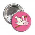 Stork Girl Pink button (badges, pins, pinbacks, baby shower, gender reveal)