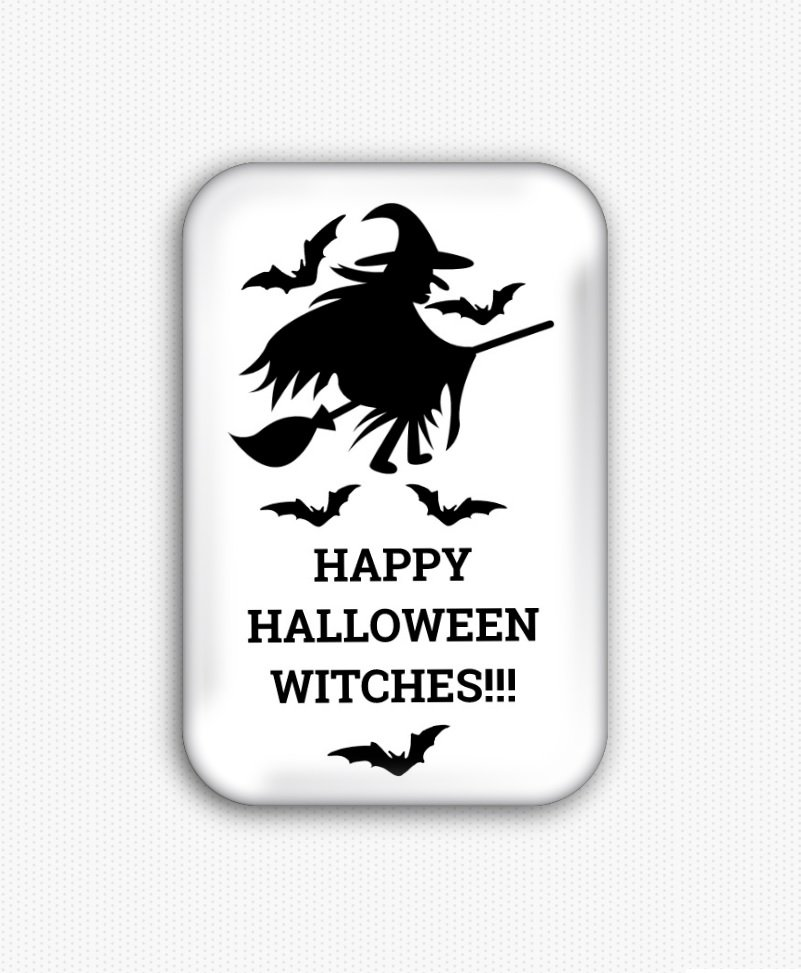 Happy Halloween Witches Fridge Magnet (poster, print, refrigerator)