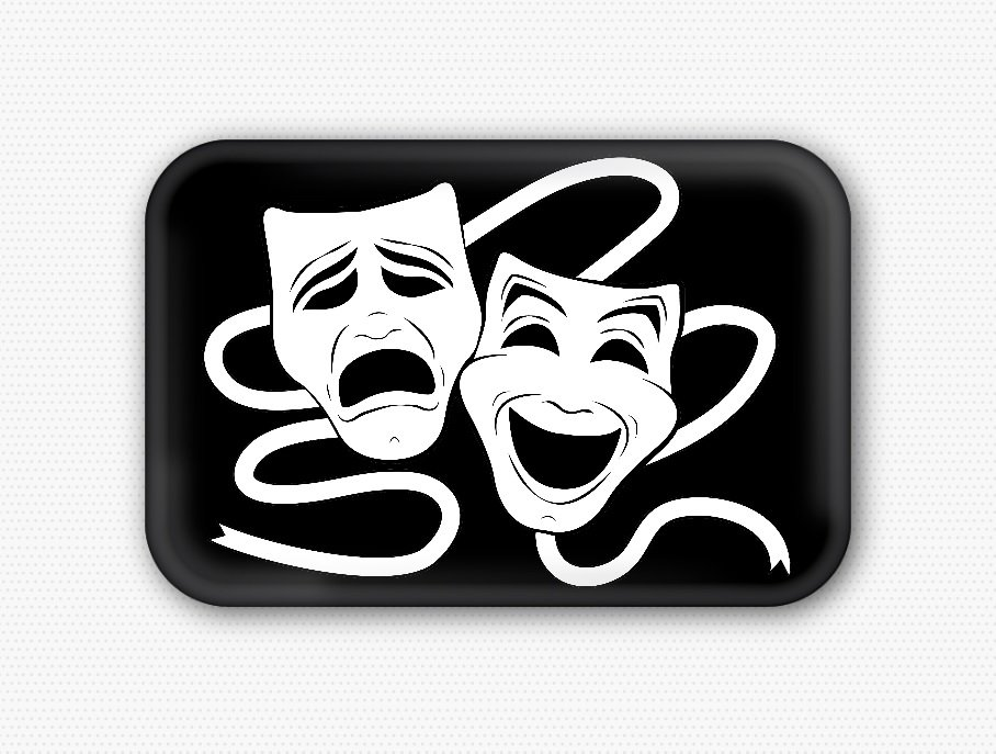 Comedy and Tragedy Fridge Magnet (44x68mm, refrigerator, decor, sock buskin)