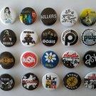 20 x Britpop Rock band buttons (25mm, badges, pinbacks, patches)