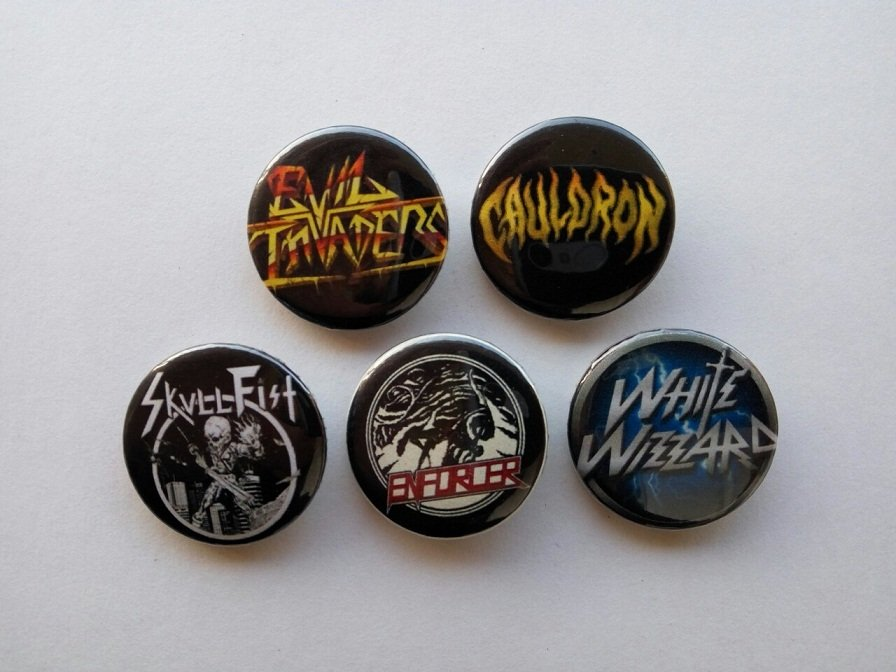 5 x New Wave Of Traditional Heavy Metal buttons (25mm, badges, pinbacks)