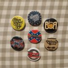 7 x Southern Rock band buttons (25mm, badges, pinbacks)