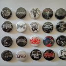 20 x Black Metal band buttons (25mm, badges, pinbacks, patches)