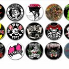15 x Rockabilly Psychobilly band buttons (25mm, badges, pinbacks, patches)