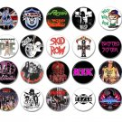 20 x Hair Metal band buttons (25mm, badges, pinbacks, sleaze)