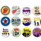 12 x Sixites band buttons (25mm, badges, pinbacks)
