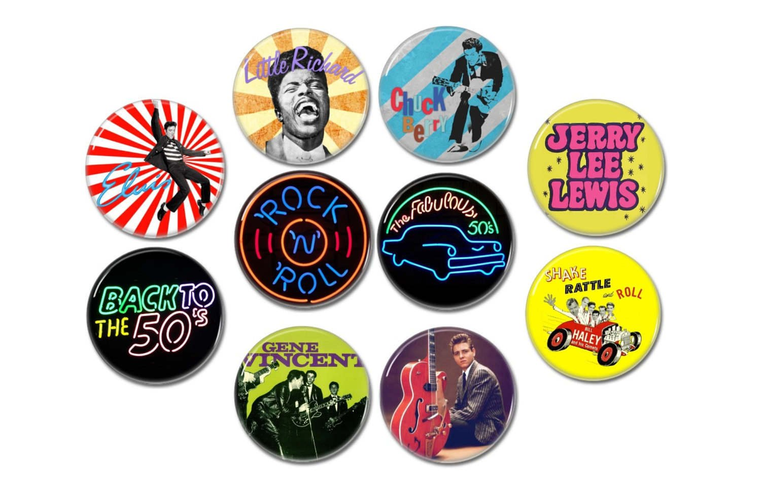 10 x Fifities band buttons (25mm, badges, pinbacks)