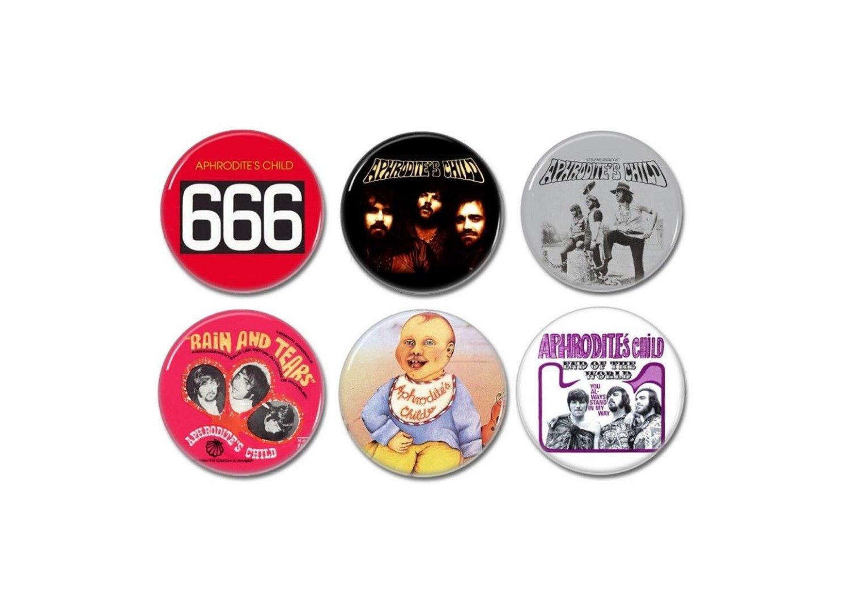 6 x Aphrodites Child band buttons (25mm, badges, pinbacks)