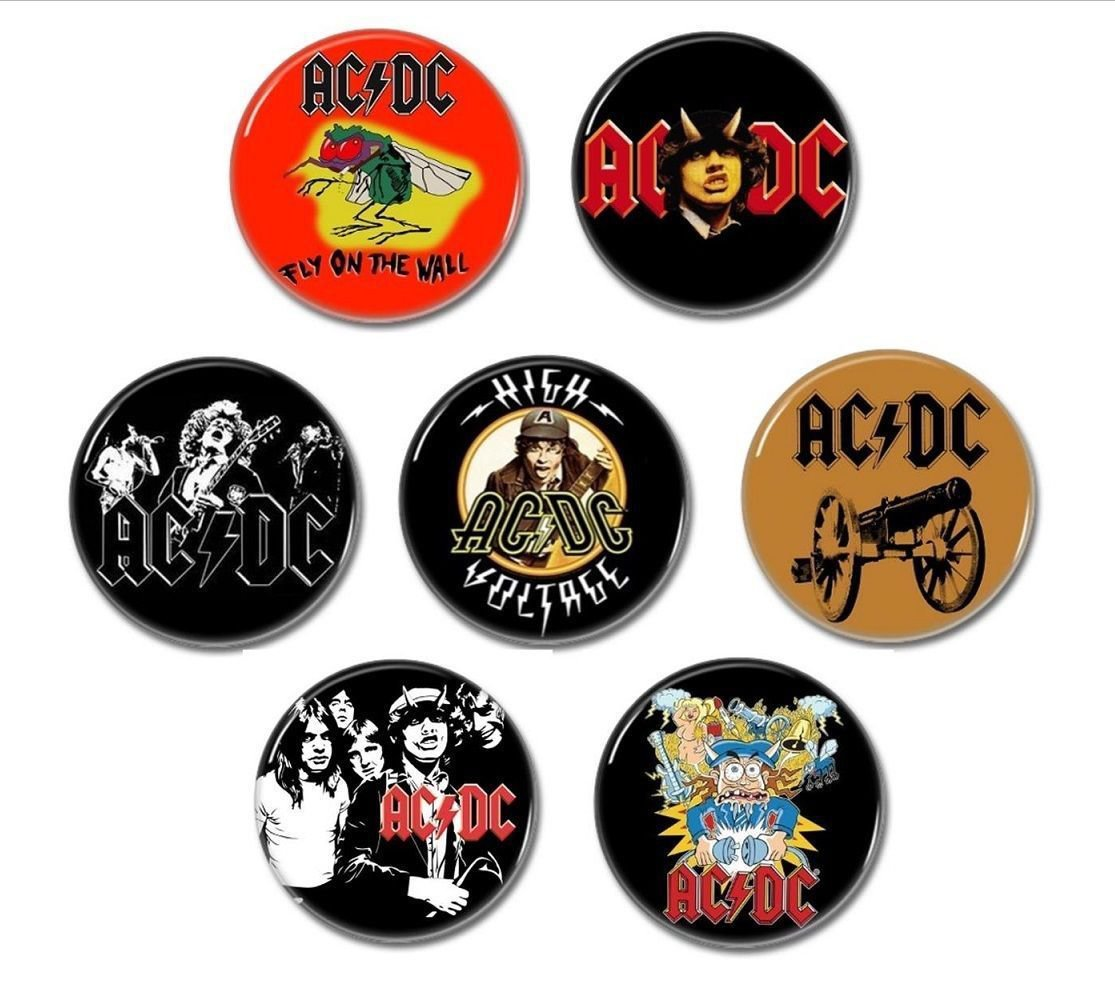 7 x AC/DC band buttons (25mm, badges, pinbacks)