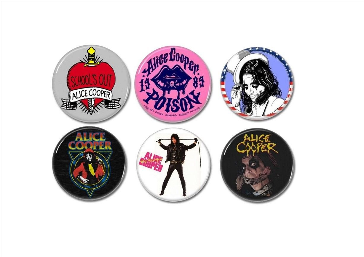 6 x Alice Cooper band buttons (25mm, badges, pinbacks)
